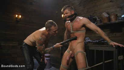 Photo number 4 from Huge-Dicked Sub Jack Andy Gets An Intense Beating From Christian Wilde shot for Bound Gods on Kink.com. Featuring Christian Wilde and Jack Andy in hardcore BDSM & Fetish porn.