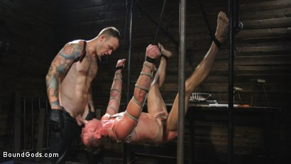 Photo number 7 from Captive God Pierce Paris: Bound in Rope Bondage and Fucked by Hot Stud shot for Bound Gods on Kink.com. Featuring Pierce Paris and Christian Wilde in hardcore BDSM & Fetish porn.