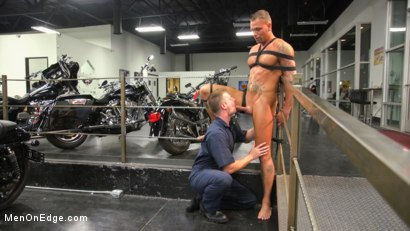 Photo number 10 from Motorcycle Mechanic Stud Gets His Road Hard Hog Ridden to the Edge shot for Men On Edge on Kink.com. Featuring Kai Donec in hardcore BDSM & Fetish porn.