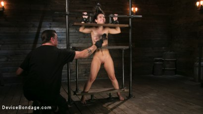 Photo number 4 from Petite Slut Serena Blair Punished and Made to Cum in Metal Bondage!! shot for Device Bondage on Kink.com. Featuring The Pope and Serena Blair in hardcore BDSM & Fetish porn.