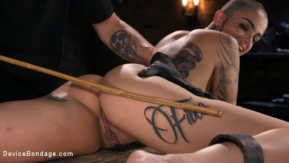 Photo number 12 from Alternative Pain Slut Leigh Raven Gets Whipped, Caned, and Clamped  shot for Device Bondage on Kink.com. Featuring The Pope and Leigh Raven in hardcore BDSM & Fetish porn.