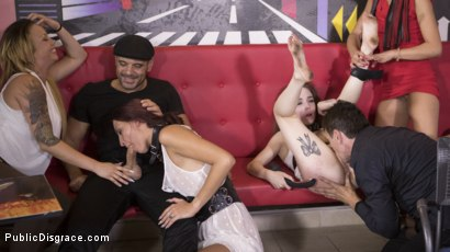 Photo number 21 from Fresh Meat Angel Rush and Lyen Parker Humilated and Fucked in Public!  shot for Public Disgrace on Kink.com. Featuring Steve Holmes, Cherry Kiss, Antonio Ross, Angel Rush  and Lyen Parker in hardcore BDSM & Fetish porn.