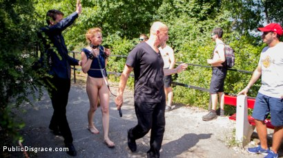 Photo number 1 from Blonde Czech Slut Gets Fucked In The ASS In Budapest shot for Public Disgrace on Kink.com. Featuring Steve Holmes, RAM, Cherry Kiss and Luca Bella in hardcore BDSM & Fetish porn.