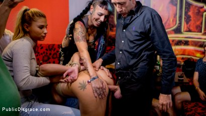 Photo number 14 from 19yo Vyvan Hill & Dolly Diore Stripped Naked in Public & Fucked in Bar shot for Public Disgrace on Kink.com. Featuring Steve Holmes, Dolly Diore , Vyvan Hill , Cherry Kiss and Chad Rockwell in hardcore BDSM & Fetish porn.