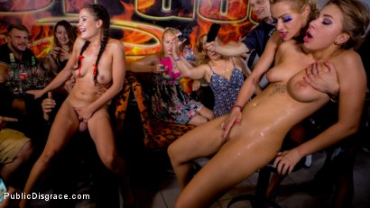 19yo Vyvan Hill & Dolly Diore Stripped Naked in Public & Fucked in Bar