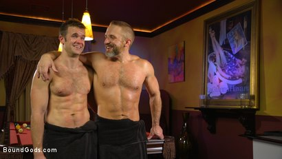 Photo number 19 from Hungry Daddy Fucks Younger Muscled Pain Slut shot for Bound Gods on Kink.com. Featuring Dirk Caber and Connor Patricks in hardcore BDSM & Fetish porn.