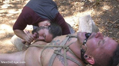 Photo number 14 from Hard Woods: Max Cameron Suspended and Tormented in California Redwoods shot for Men On Edge on Kink.com. Featuring Max Cameron in hardcore BDSM & Fetish porn.