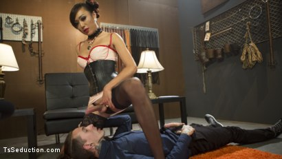 Photo number 3 from Sensual Domme Venus Lux Gets Worshiped and Fucks Her Obedient Slave  shot for TS Seduction on Kink.com. Featuring Venus Lux and Ruckus in hardcore BDSM & Fetish porn.