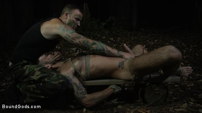 Photo number 11 from Wild Country: Hiker is Kidnapped, Bound, Fucked by Woods Survivalist  shot for Bound Gods on Kink.com. Featuring Chris Harder and Christian Wilde in hardcore BDSM & Fetish porn.