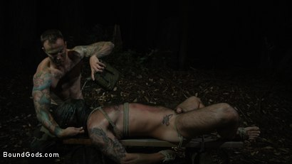 Photo number 13 from Wild Country: Hiker is Kidnapped, Bound, Fucked by Woods Survivalist  shot for Bound Gods on Kink.com. Featuring Chris Harder and Christian Wilde in hardcore BDSM & Fetish porn.