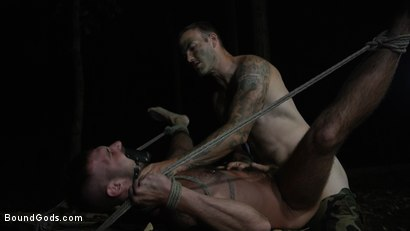 Photo number 5 from Wild Country: Hiker is Kidnapped, Bound, Fucked by Woods Survivalist  shot for Bound Gods on Kink.com. Featuring Chris Harder and Christian Wilde in hardcore BDSM & Fetish porn.