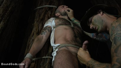 Photo number 8 from Wild Country: Hiker is Kidnapped, Bound, Fucked by Woods Survivalist  shot for Bound Gods on Kink.com. Featuring Chris Harder and Christian Wilde in hardcore BDSM & Fetish porn.