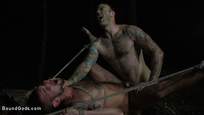 Photo number 9 from Wild Country: Hiker is Kidnapped, Bound, Fucked by Woods Survivalist  shot for Bound Gods on Kink.com. Featuring Chris Harder and Christian Wilde in hardcore BDSM & Fetish porn.