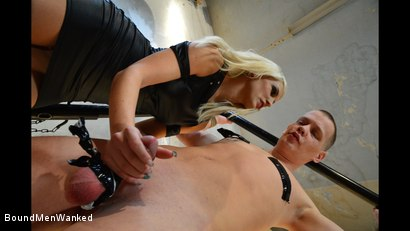 Photo number 5 from Steve Gets Roughed Up By A Hot Blonde shot for Bound Men Wanked on Kink.com. Featuring Blanche Bradburry and Steve Strong in hardcore BDSM & Fetish porn.