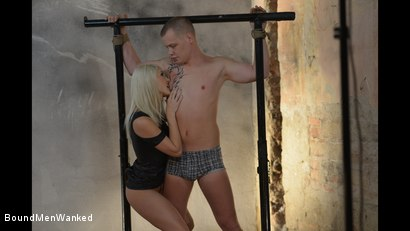Photo number 10 from Steve Gets Roughed Up By A Hot Blonde shot for Bound Men Wanked on Kink.com. Featuring Blanche Bradburry and Steve Strong in hardcore BDSM & Fetish porn.