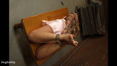 Photo number 2 from Cindy Gets Hogtied, Cleavegagged, And Stripped shot for Hogtied Up on Kink.com. Featuring Ar and Denisel in hardcore BDSM & Fetish porn.