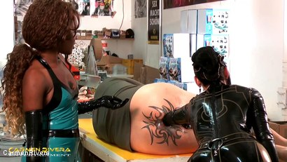 Photo number 15 from Dildo Shopping Queens: Chapter Three shot for Carmen Rivera on Kink.com. Featuring Carmen Rivera, Lady Sahara and Franky in hardcore BDSM & Fetish porn.