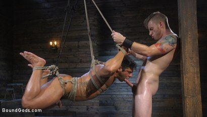Photo number 14 from Bound bodybuilding god at the hands and torment of Mr Keys shot for Bound Gods on Kink.com. Featuring Draven Navarro and Sebastian Keys in hardcore BDSM & Fetish porn.