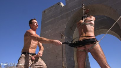 Photo number 9 from Muscled Rope Slut Abducted, Bound, Flogged, and Fucked shot for Bound Gods on Kink.com. Featuring Brendan Patrick and Pierce Paris in hardcore BDSM & Fetish porn.
