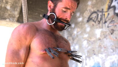Photo number 10 from Muscled Rope Slut Abducted, Bound, Flogged, and Fucked shot for Bound Gods on Kink.com. Featuring Brendan Patrick and Pierce Paris in hardcore BDSM & Fetish porn.