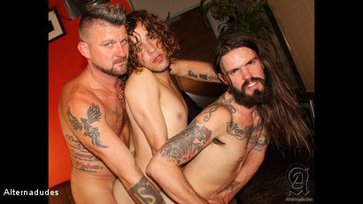 Photo number 13 from Rocker Dudes Have a Threesome shot for Alternadudes on Kink.com. Featuring Murphy Maxwell, Christian Matthews and Rob Benson in hardcore BDSM & Fetish porn.