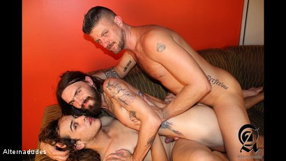 Photo number 10 from Rocker Dudes Have a Threesome shot for Alternadudes on Kink.com. Featuring Murphy Maxwell, Christian Matthews and Rob Benson in hardcore BDSM & Fetish porn.