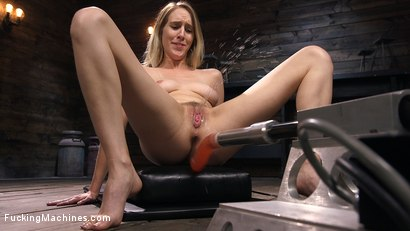 All Natural Blonde Babe Cadence Lux Squirts All Over Fucking Machines!