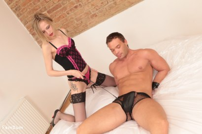 Photo number 1 from Blonde Mistress Bites My Cock shot for FemDum on Kink.com. Featuring Hillary and Peter Stallion in hardcore BDSM & Fetish porn.