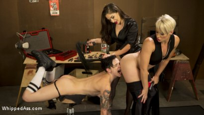 Photo number 10 from Lazy Mechanic Nikki Hearts Gets Tag-Teamed by Boss & Client  shot for Whipped Ass on Kink.com. Featuring Helena Locke, Nikki Hearts and Lea Lexis in hardcore BDSM & Fetish porn.