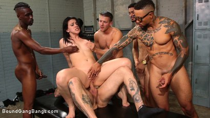 Photo number 16 from Mandy Muse Gets Her Big Ripe Ass Bound Up and Gangbanged shot for Bound Gang Bangs on Kink.com. Featuring Mandy Muse, Eddie Jaye, Jay Savage , Codey Steele , Cyrus King  and Ray Black in hardcore BDSM & Fetish porn.