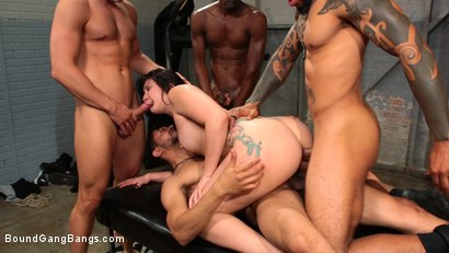 Photo number 19 from Mandy Muse Gets Her Big Ripe Ass Bound Up and Gangbanged shot for Bound Gang Bangs on Kink.com. Featuring Mandy Muse, Eddie Jaye, Jay Savage , Cody Steele , Cyrus King  and Ray Black in hardcore BDSM & Fetish porn.