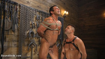 Photo number 2 from Bodybuilder Draven Navarro Takes Pain, Extreme CBT, and Gets Fucked shot for Bound Gods on Kink.com. Featuring Dominic Pacifico and Draven Navarro in hardcore BDSM & Fetish porn.