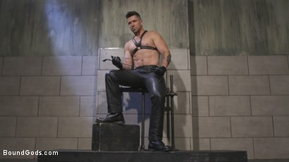 Photo number 2 from Leather God Trenton Ducati Dominates & Destroys Straight Stud  shot for Bound Gods on Kink.com. Featuring Trenton Ducati and Mason Lear in hardcore BDSM & Fetish porn.