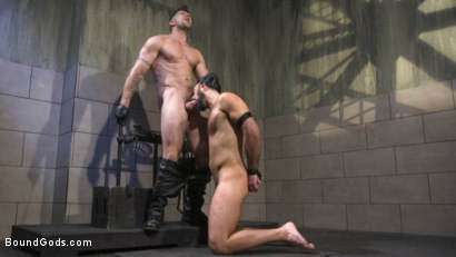 Photo number 12 from Leather God Trenton Ducati Dominates & Destroys Straight Stud  shot for Bound Gods on Kink.com. Featuring Trenton Ducati and Mason Lear in hardcore BDSM & Fetish porn.