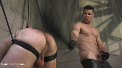 Photo number 15 from Leather God Trenton Ducati Dominates & Destroys Straight Stud  shot for Bound Gods on Kink.com. Featuring Trenton Ducati and Mason Lear in hardcore BDSM & Fetish porn.