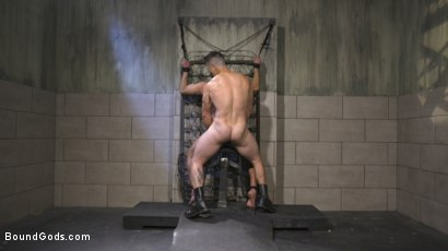 Photo number 27 from Leather God Trenton Ducati Dominates & Destroys Straight Stud  shot for Bound Gods on Kink.com. Featuring Trenton Ducati and Mason Lear in hardcore BDSM & Fetish porn.
