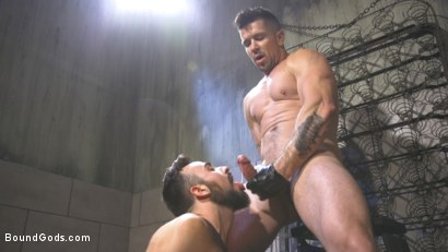 Photo number 28 from Leather God Trenton Ducati Dominates & Destroys Straight Stud  shot for Bound Gods on Kink.com. Featuring Trenton Ducati and Mason Lear in hardcore BDSM & Fetish porn.