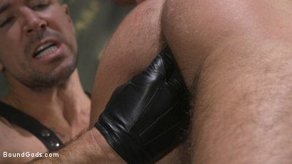 Photo number 6 from Leather God Trenton Ducati Dominates & Destroys Straight Stud  shot for Bound Gods on Kink.com. Featuring Trenton Ducati and Mason Lear in hardcore BDSM & Fetish porn.
