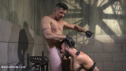 Photo number 10 from Leather God Trenton Ducati Dominates & Destroys Straight Stud  shot for Bound Gods on Kink.com. Featuring Trenton Ducati and Mason Lear in hardcore BDSM & Fetish porn.