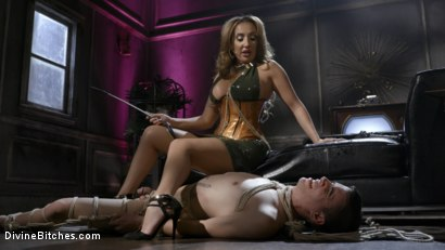 Photo number 11 from Dangerous Curves Ahead:Trustfund Kid is Dominated by Fierce Curvy Babe shot for Divine Bitches on Kink.com. Featuring Richelle Ryan and Casey V in hardcore BDSM & Fetish porn.