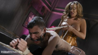Photo number 10 from Dangerous Curves Ahead:Trustfund Kid is Dominated by Fierce Curvy Babe shot for Divine Bitches on Kink.com. Featuring Richelle Ryan and Casey V in hardcore BDSM & Fetish porn.
