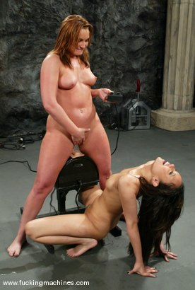 Photo number 13 from FLOWER TUCCI  vs.  ANNIE CRUZ in<br>THE GREAT FUCK OFF OLYMPICS: THE SQUIRTING CHALLENGE shot for Fucking Machines on Kink.com. Featuring Annie Cruz and Flower Tucci in hardcore BDSM & Fetish porn.