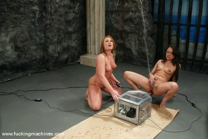 Photo number 7 from FLOWER TUCCI  vs.  ANNIE CRUZ in<br>THE GREAT FUCK OFF OLYMPICS: THE SQUIRTING CHALLENGE shot for Fucking Machines on Kink.com. Featuring Annie Cruz and Flower Tucci in hardcore BDSM & Fetish porn.