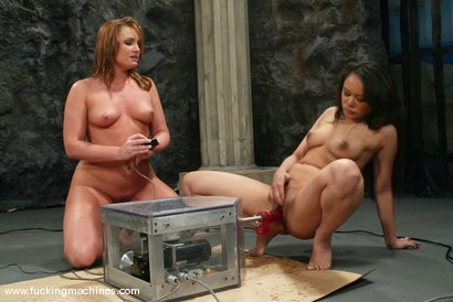 Photo number 6 from FLOWER TUCCI  vs.  ANNIE CRUZ in<br>THE GREAT FUCK OFF OLYMPICS: THE SQUIRTING CHALLENGE shot for Fucking Machines on Kink.com. Featuring Annie Cruz and Flower Tucci in hardcore BDSM & Fetish porn.