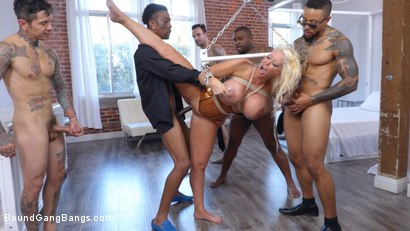 Photo number 12 from MILF Dominatrix Takedown: Gigantic Titted Dominatrix Gets Bound & DP'd shot for Bound Gang Bangs on Kink.com. Featuring Eddie Jaye, Sam Coxxx, Rico Strong, Alura Jenson, Alex Legend and Slim Poke in hardcore BDSM & Fetish porn.