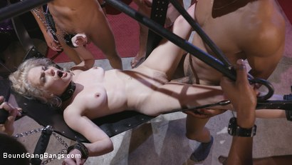 Photo number 11 from Caged Gangbang Slut: Submissive Lisey Sweet Gets Holes Cracked Open shot for Bound Gang Bangs on Kink.com. Featuring Lisey Sweet , Donny Sins, Isiah Maxwell, Ricky Johnson, Justin Hunt and Nathan Bronson in hardcore BDSM & Fetish porn.
