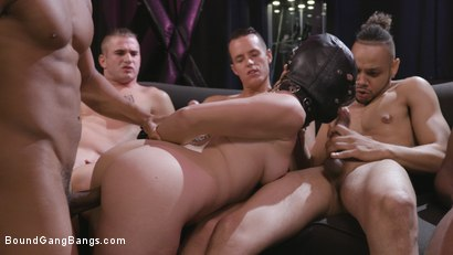 Photo number 18 from Caged Gangbang Slut: Submissive Lisey Sweet Gets Holes Cracked Open shot for Bound Gang Bangs on Kink.com. Featuring Lisey Sweet , Donny Sins, Isiah Maxwell, Ricky Johnson, Justin Hunt and Nathan Bronson in hardcore BDSM & Fetish porn.
