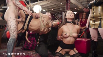 Photo number 14 from Nympho Slave Slut Soaks The Folsom Orgy with Squirt shot for The Upper Floor on Kink.com. Featuring Aiden Starr, Kira Noir, Melissa Moore and Owen Gray in hardcore BDSM & Fetish porn.