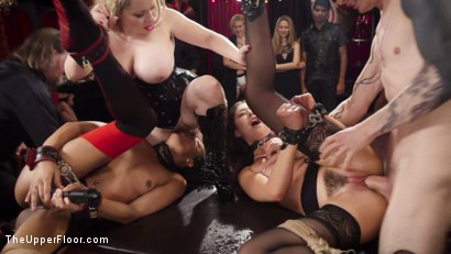 Photo number 10 from Nympho Slave Slut Soaks The Folsom Orgy with Squirt shot for The Upper Floor on Kink.com. Featuring Aiden Starr, Kira Noir, Melissa Moore and Owen Gray in hardcore BDSM & Fetish porn.