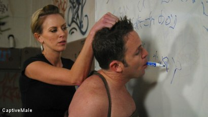 Photo number 10 from FemDomme Audrey Leigh Gives Dick Richards Low Grades shot for Captive Male on Kink.com. Featuring Audrey Leigh and Dick Richards in hardcore BDSM & Fetish porn.